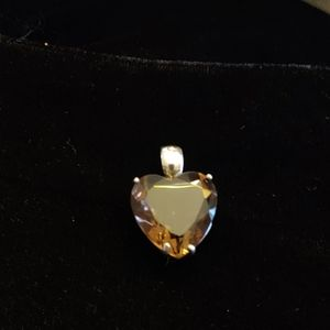 Jewelry - Smoky Quartz Heart Shaped Sterling Silver Pendant.
